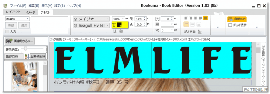 DTPソフトbookuma文字の色変更